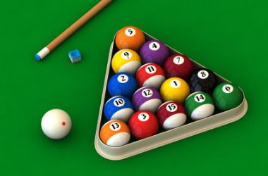 Billiard set on green